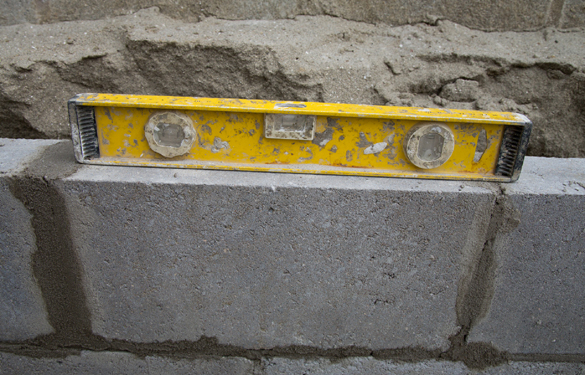Level on concrete blocks